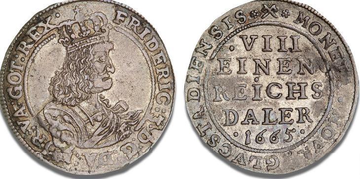 Glückstadt, 8 skilling lybsk 1665, H 151, S 51, Lange 66 - pænt eksemplar af denne sjældne étårstalstype