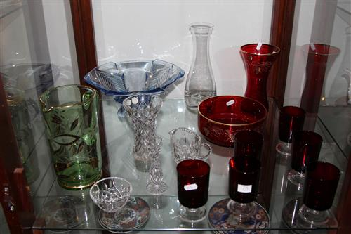Ruby Glass Drink Wares with Other Coloured Glass Wares
