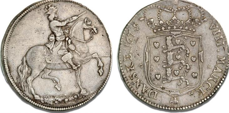 8 mark / 2 krone 1675, H 72, S 13, Sieg 56.2, Aagaard 15, Dav. 3634