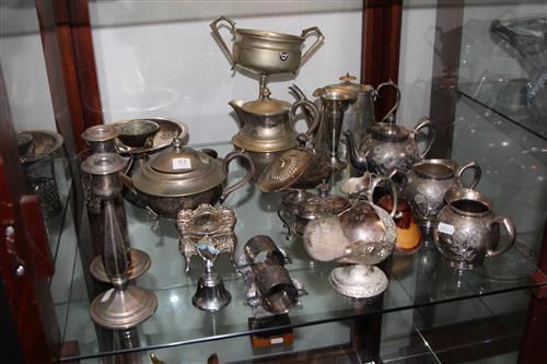 Silver Plated Tea Wares & an Engraved Trophy