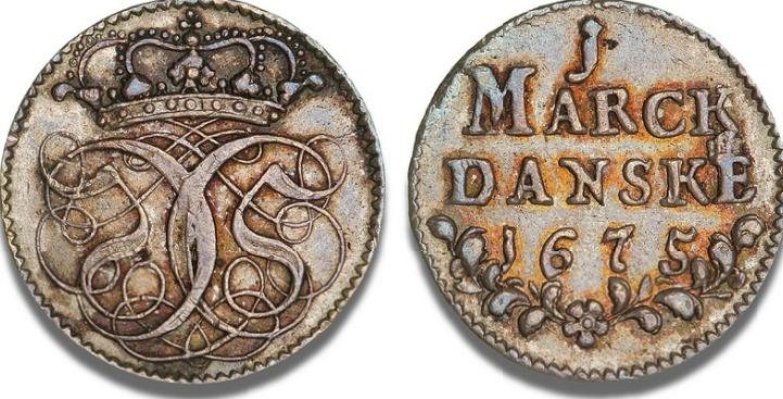 Mark 1675 (tyk), H 73, S 16, Aagaard 18 - smukt tonet pragteksemplar