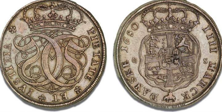 4 mark / krone 1680, H 77, S 18, Aagaard 25