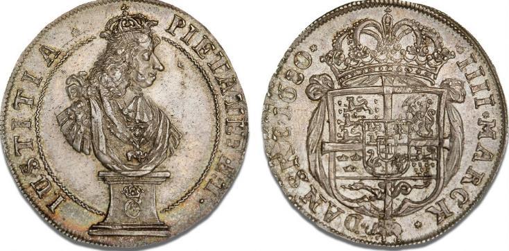"""4 mark / krone 1680 """"Piedestalkrone"""", H 78, S 21, Sieg 38.1, Aagaard 27, Dav. 3636"""