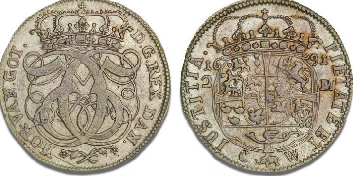 2 mark 1691, H 93A, S 35, Aagaard 63 - pragteksemplar