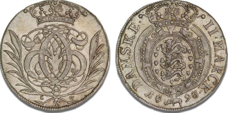 Glückstadt, 2 mark 1693, H 126A, S 55 - pragteksemplar