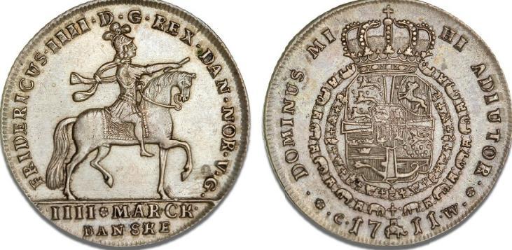 4 mark / krone 1711, H 39, S 4, Dav. 1290