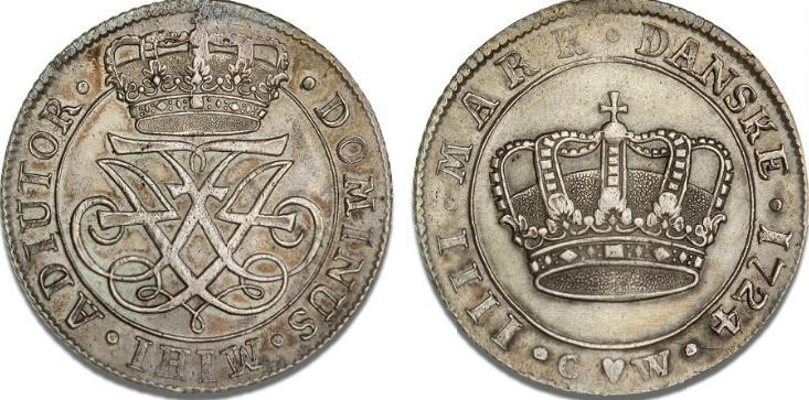 4 mark / krone 1724, H 40, S 1, Dav. 1291
