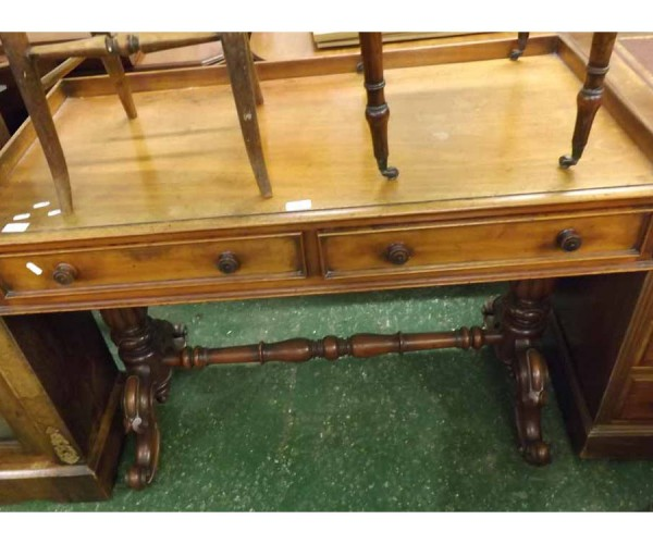 Victorian mahogany two drawer side table or wash stand, raised on heavy turned supports and stretcher