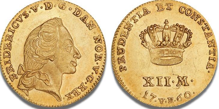 Kurantdukat / 12 mark 1760 W/VH, H 22C, F 269
