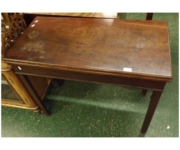 19th century mahogany rectangular card table, raised on square legs
