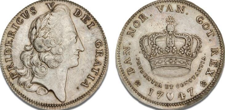 Krone 1747, H 29A, S 14 - pænt eksemplar af denne portrætkrone, der bærer randskriften: TIL ZIER OG FORSUAR