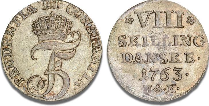 8 skilling 1763, H 38B, S 15, ex. Adler Petersen - sjælden i denne smukke kvalitet
