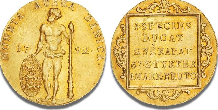 "Dukat 1792 ""vildmandsdukat"", H 2, S 1, F 283"