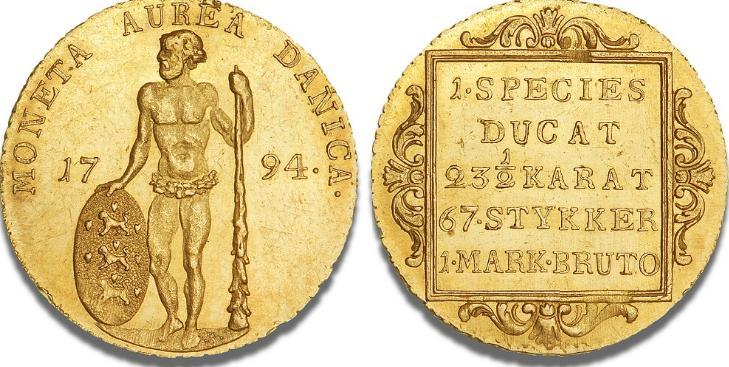 """Dukat 1794 """"vildmandsdukat"""", H 2, S 1, F 283, lille kantstød"""