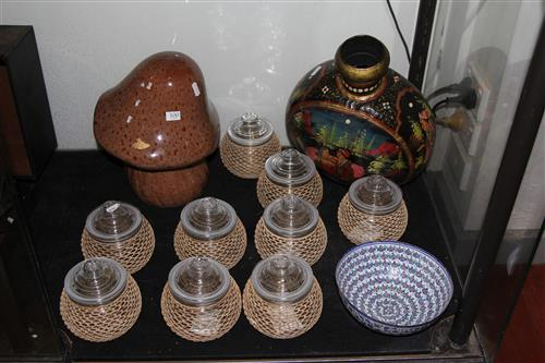 Art Glass Mushroom with Other Wares incl. a Cloisonne Vase