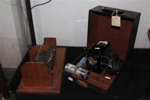 Slide Projector in case & a Crystal Radio