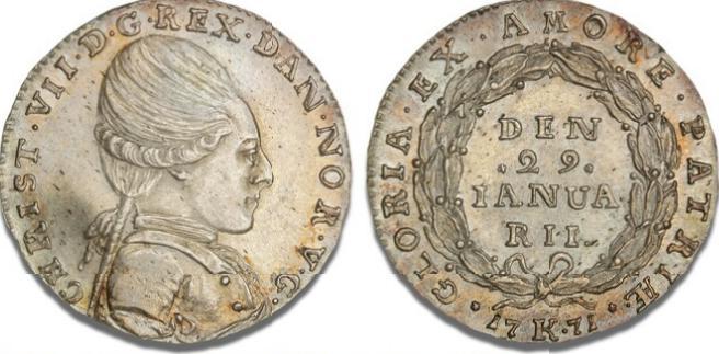 """1/2 krone 1771 (""""fødselsdagshalvkrone""""), H 24, S 8"""