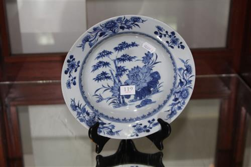 Qianlong Period Blue & White Export Ware Plate with painted detail of lotus & bamboo to the centre & flowers to the rim.