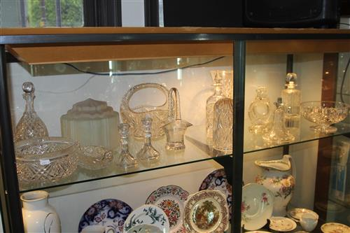 Crystal Decanters with Other Crystal & Glass Wares incl Art Deco Light Fitting