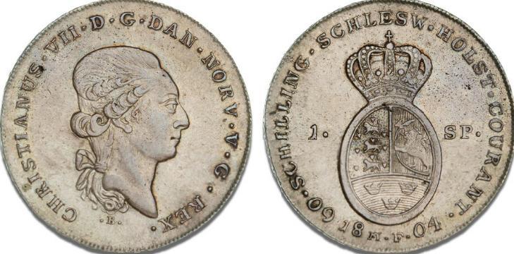 Slesvig - Holsten, speciedaler 1804 B, Altona, H 39A, S 1, Dav. 1311