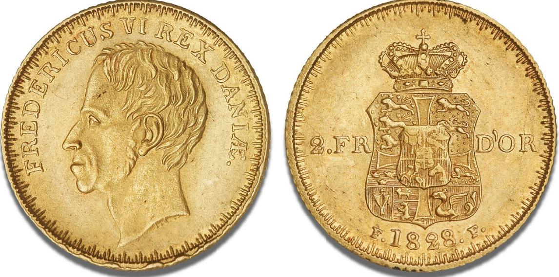 2 Frederik d'or 1828 FF, H 3, S 1, F 286