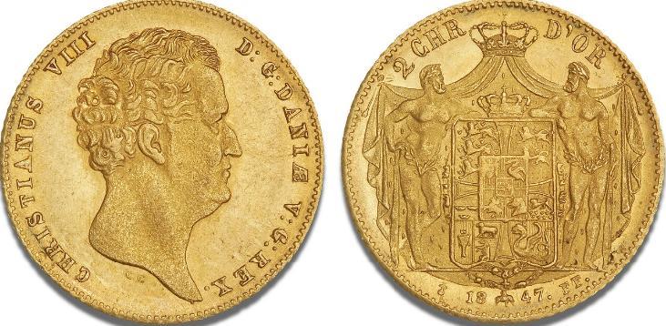 2 Christian d'or 1847 FF, H 1B, S 1, F 289
