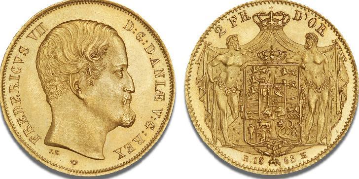 2 Frederik d'or 1863, H 1D, F 291 - glimrende eksemplar af Hinnerups særdeles sjældne étårstalstype