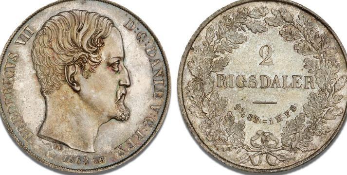 2 rigsdaler 1863 RH, H 6C, KM 761, patina - fint eksemplar af Hinnerups ualmindelige type