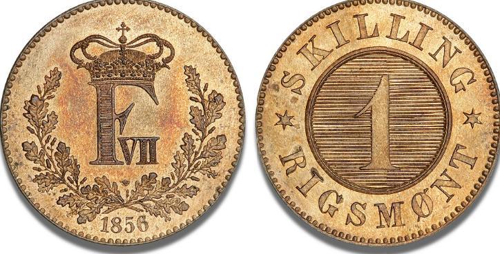 Skilling 1856, prøvemønt med krone, H 16A, S 6