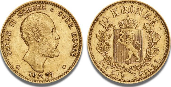 10 kr 1877, NM 11, F 18