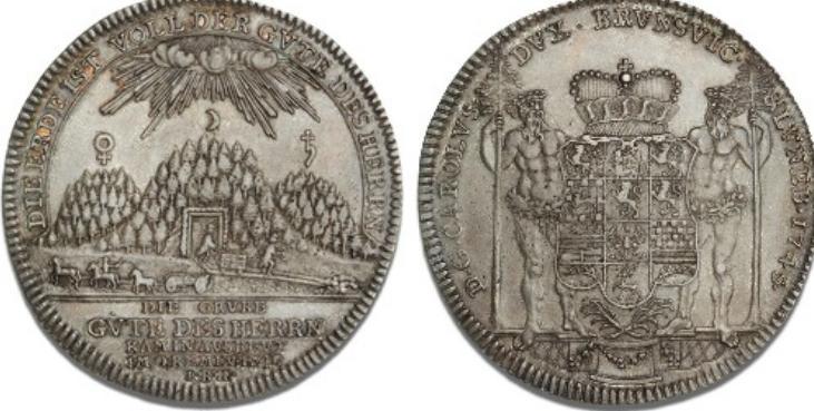 Braunschweig-Wolfenbüttel, Karl I, 1735 - 1780, Reichstaler 1745, Zellerfeld, Dav. 2163, Welter 2724