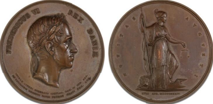 Mulatter og Frinegres borgerret på de Dansk Vestindiske Øer 1834, Krohn, bronze, 62 mm, 110,15 g, B 115