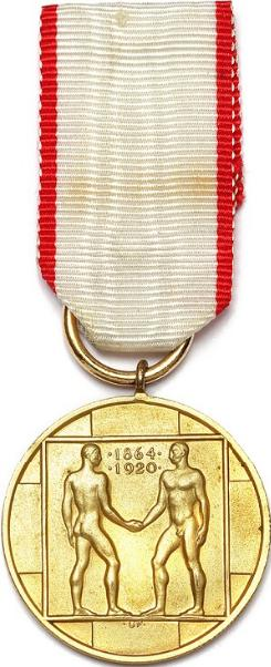 Genforeningen 1920, Utzon Frank, 27,5 mm, guld, m. originalt øsken, bærering og bånd - særdeles sjælden