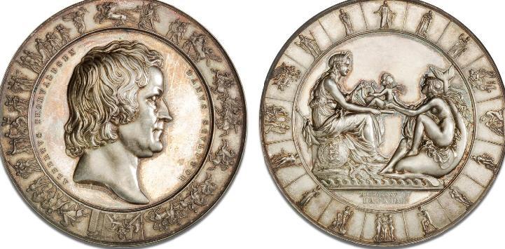 Bertel Thorvaldsen, 1838, Christensen, 62 mm, 150g, Ag, B 1096, 152,5 g