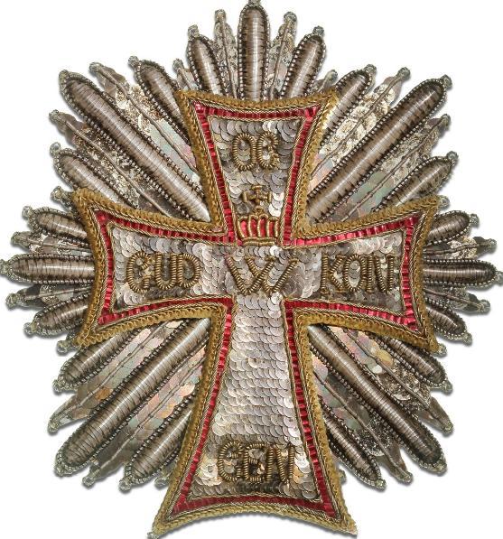 Dannebrogordenen, privatfremstillet bryststjerne broderet med pailletter og guldtråd, ca. 1840 -1880, jvf. LS Fig. 181 - 182