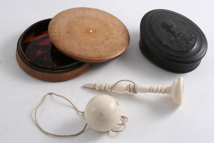 A 19TH CENTURY, TURNED IVORY, CUP & BALL GAME