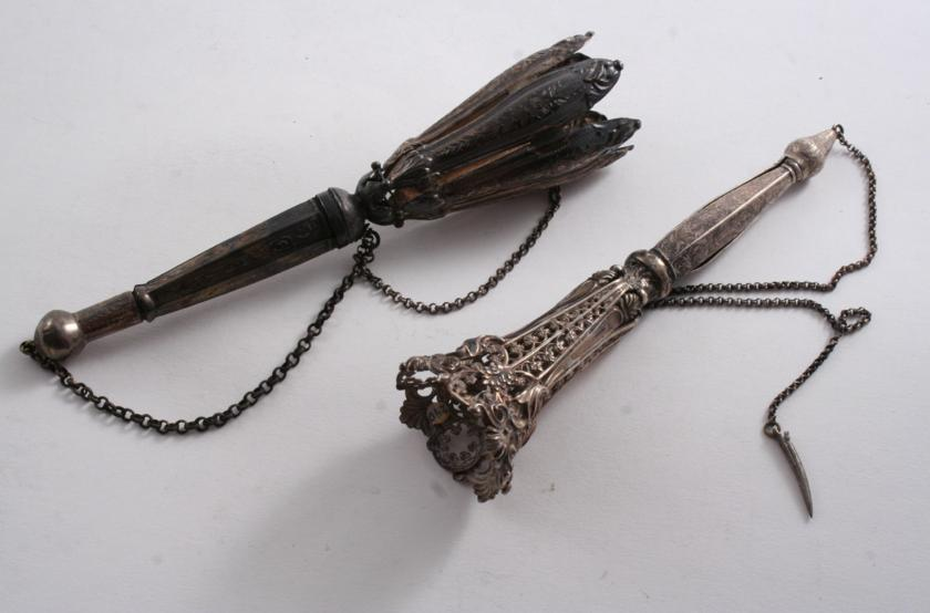 TWO 19TH CENTURY ENGRAVED POSY HOLDERS