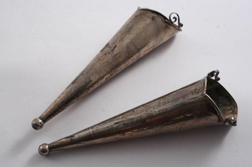A PAIR OF CONICAL POSY HOLDERS