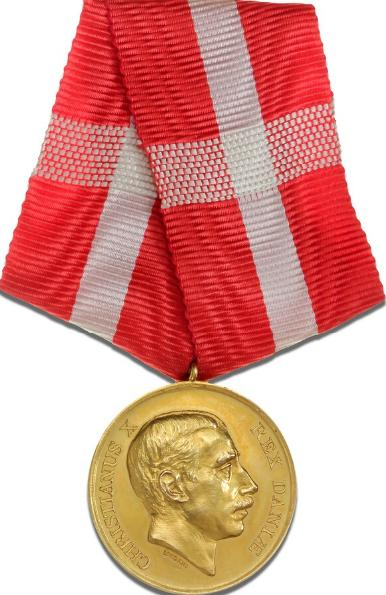 H. M. Kong Christian X's Belønningsmedalje i guld, type II, Sophus Lindahl, LS 2-188 (jvf. Fig. 452)