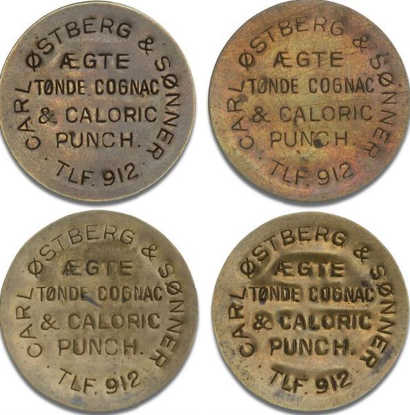 Carl Østberg & Sønner, 1, 2, 4, 5 øre, postskillemønter i messingblik med reklame