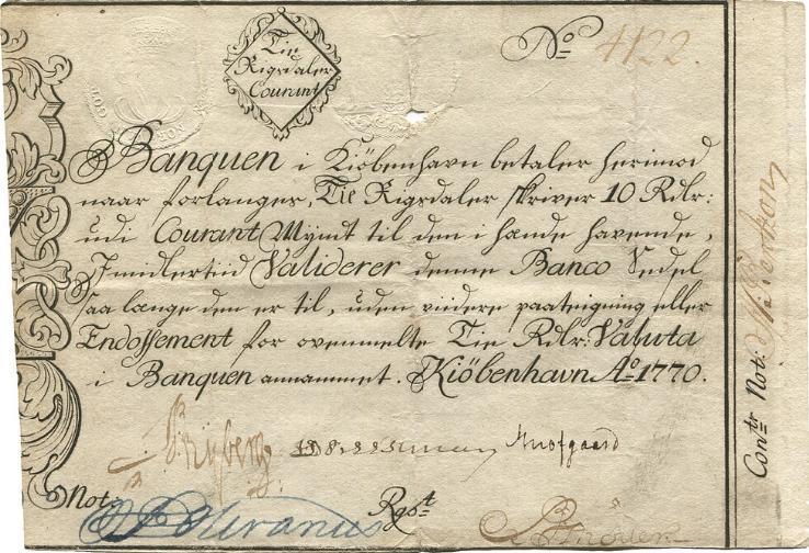 10 Rigsdaler Courant 1770, No. 4122, Sieg 34A, DOP 25, Rønning S31b, Pick A25b - af største sjældenhed