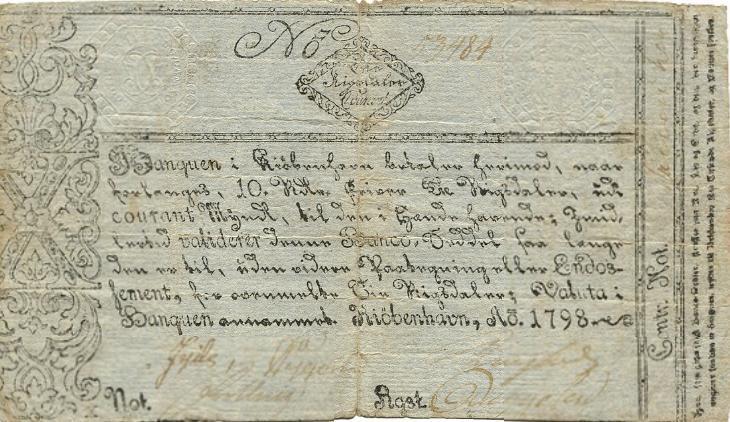 10 Rigsdaler Courant 1798, No. 53484, Sieg 41, DOP 32, Pick A30, Rønning S36
