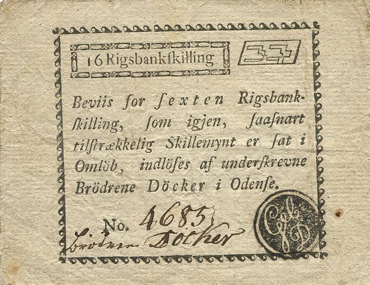 Odense, Brødrene Døcker, 16 Rigsbankskilling 1815, No. 4685, FGN 20