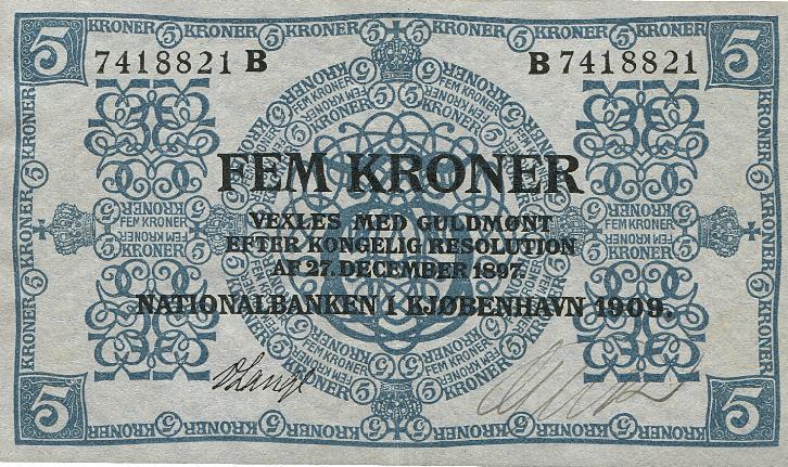 5 kr 1909 B, nr. 7418821, Sieg 93, DOP 102, Pick 6
