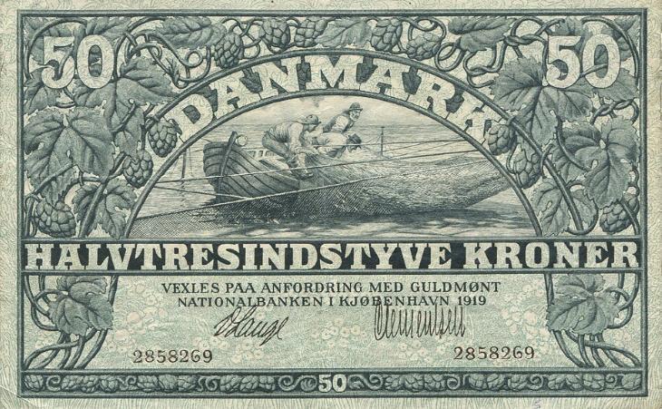 50 kr 1919, nr. 2858269, Lange / Clementsen, Sieg 106, DOP 115, Pick 22