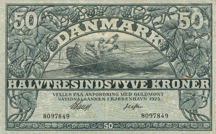 50 kr 1925, nr. 8097849, Lange / Jessen, Sieg 106, DOP 115, Pick 22