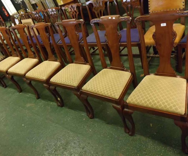 Set of six 20th century mahogany dining chairs with push out upholstered seats and front cabriole legs