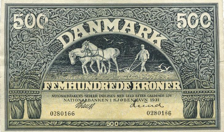 500 kr 1931, nr. 0280166, Lange / Lund, Sieg 113, DOP 122, Pick 29