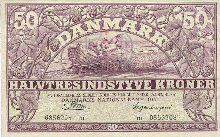 50 kr 1951 m, nr. 0856208, Riim / Ingerslevgaard, Sieg 124, DOP 133, Pick 38h