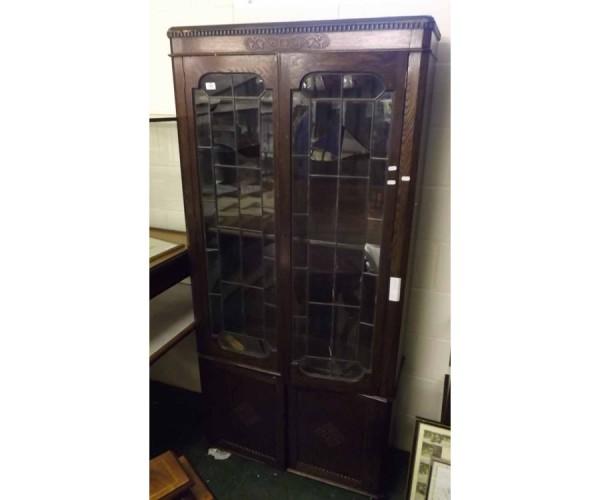 20th century oak lead glazed bookcase cabinet
